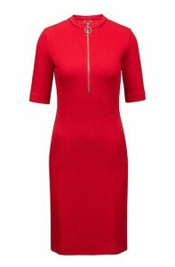 Zip-neck dress in structured stretch jersey