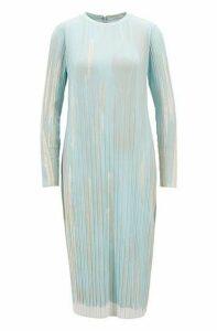 Slim-fit dress in printed stretch-plissé fabric
