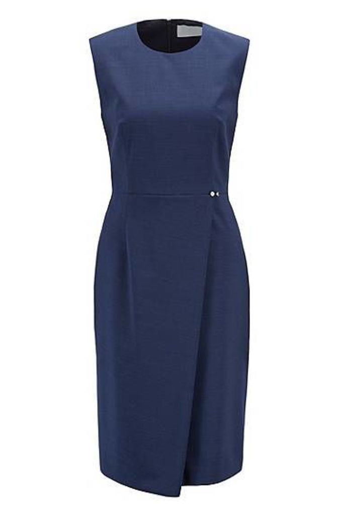 Slim-fit dress in virgin wool with wrap skirt