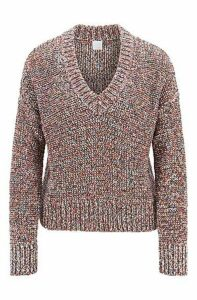 Relaxed-fit V-neck sweater in multicoloured yarn