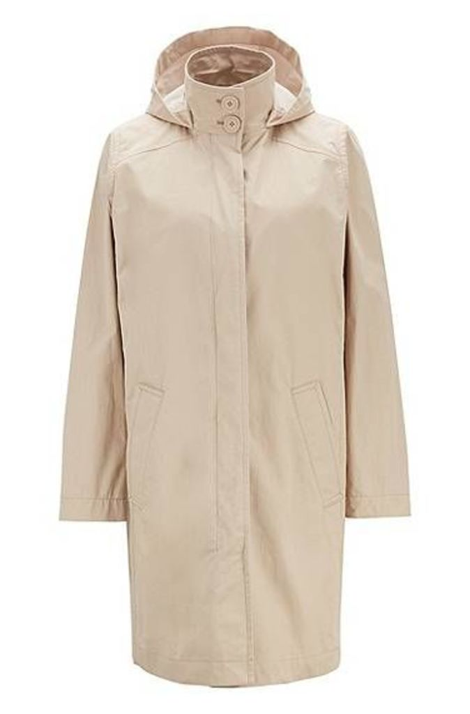 Long-length hooded jacket in water-repellent coated cotton
