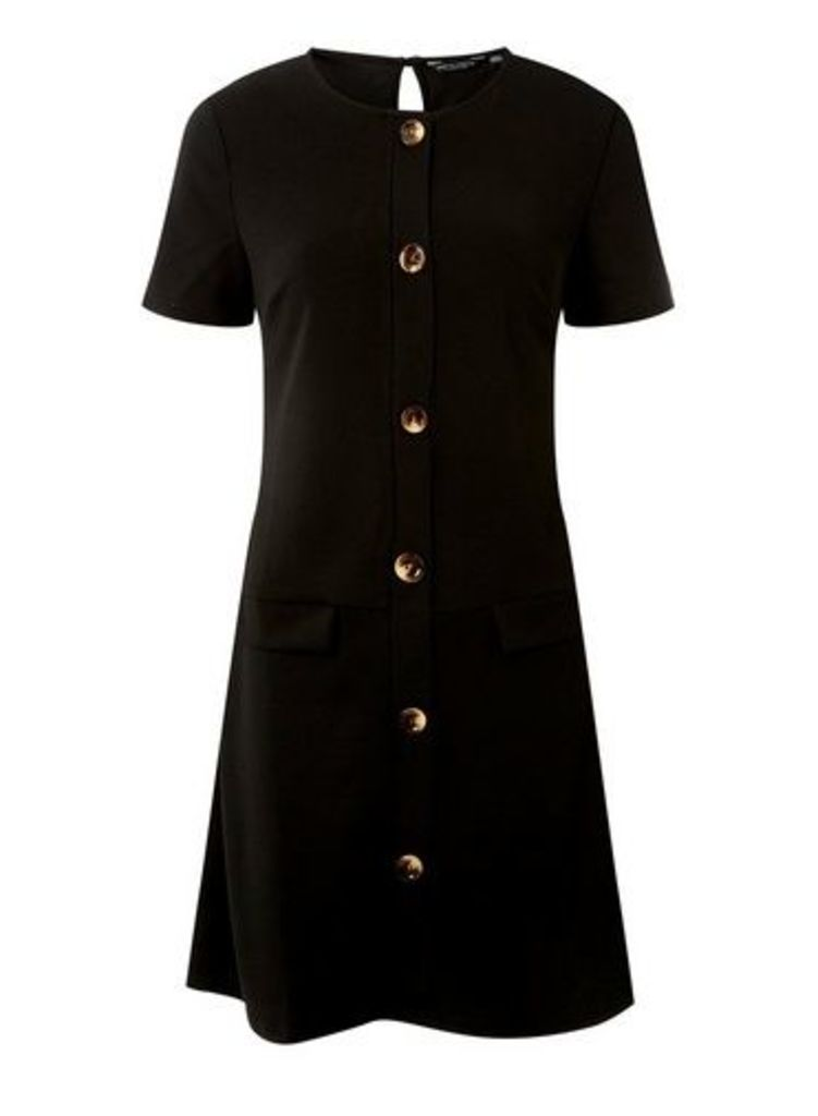 Womens Black Horn Pocket Shift Dress- Black, Black