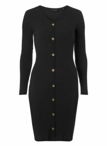 Womens Petite Black Bodycon Dress- Black, Black