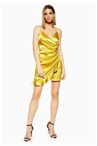 Womens Petite Mini Ruffle Slip Dress - Chartreuse, Chartreuse