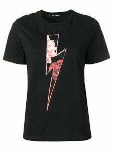 Neil Barrett roses lightning bolt T-shirt - Black