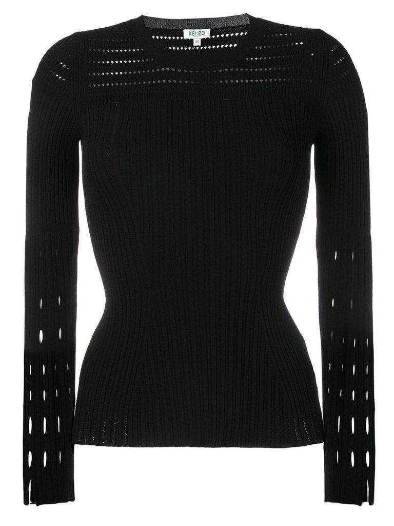 Kenzo cut-detail pleated top - Black