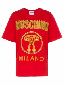 Moschino metallic logo T-shirt - Red