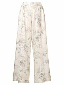 Erika Cavallini floral print silk trousers - Neutrals