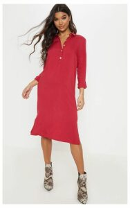 Red Gold Button Front Oversized Midi Shirt Dress, Red