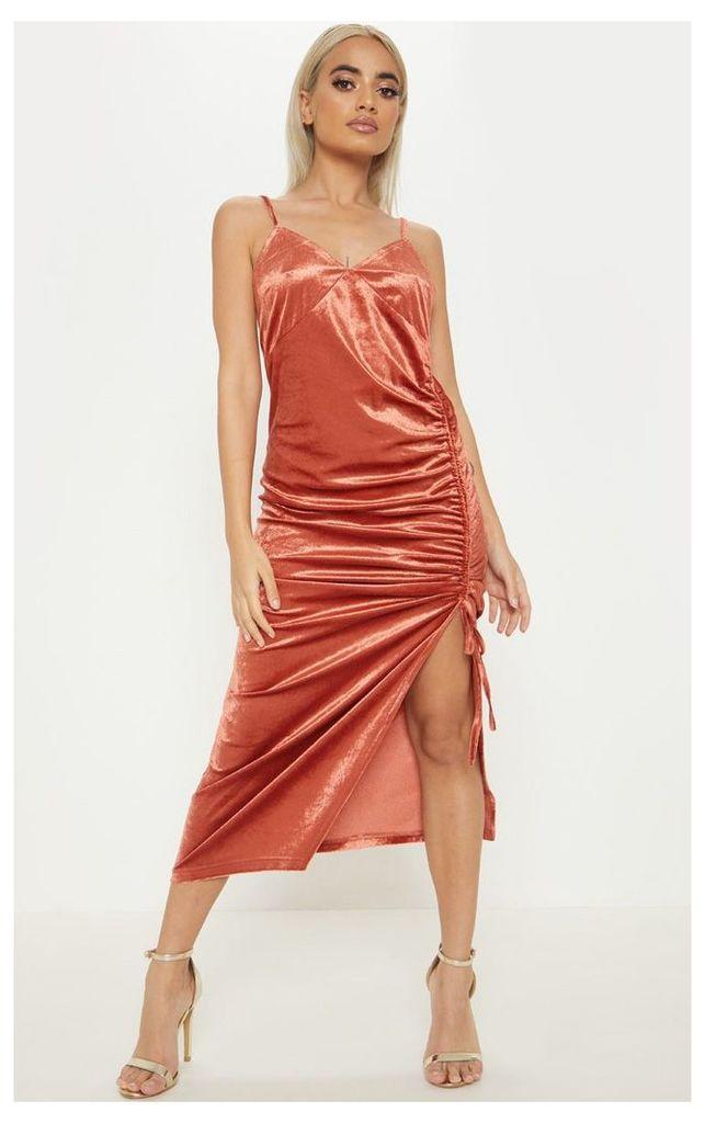Petite Rust Velvet Ruched Side Strappy Midi Dress, Orange