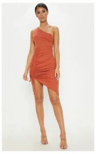 Rust Rib One Shoulder Ruched Bodycon Dress, Orange