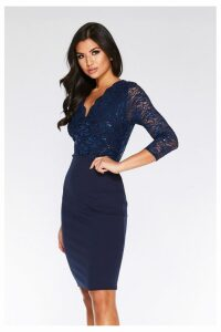 Womens Quiz Lace Midi Dress -  Blue