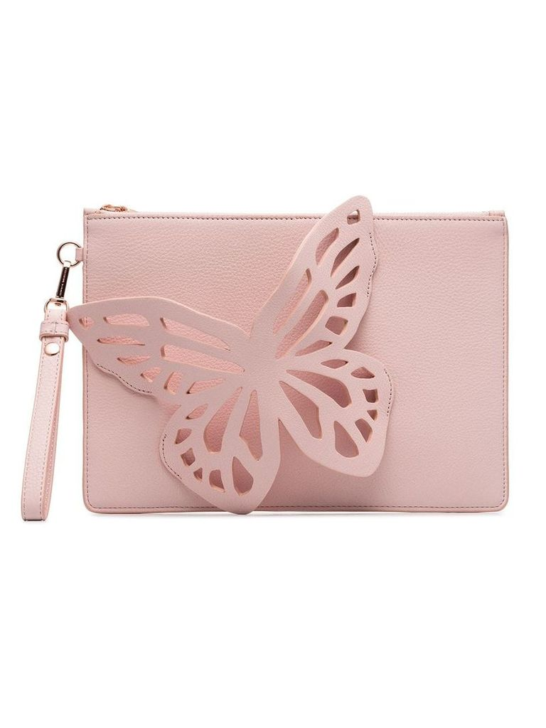 Sophia Webster pink Flossy Butterfly cotton blend clutch