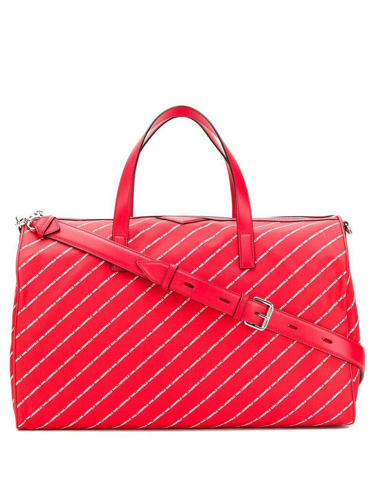 Karl Lagerfeld K/Stripe logo nylon weekender - Red
