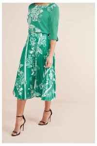 Womens Next Floral Print Pleat Skirt -  Green