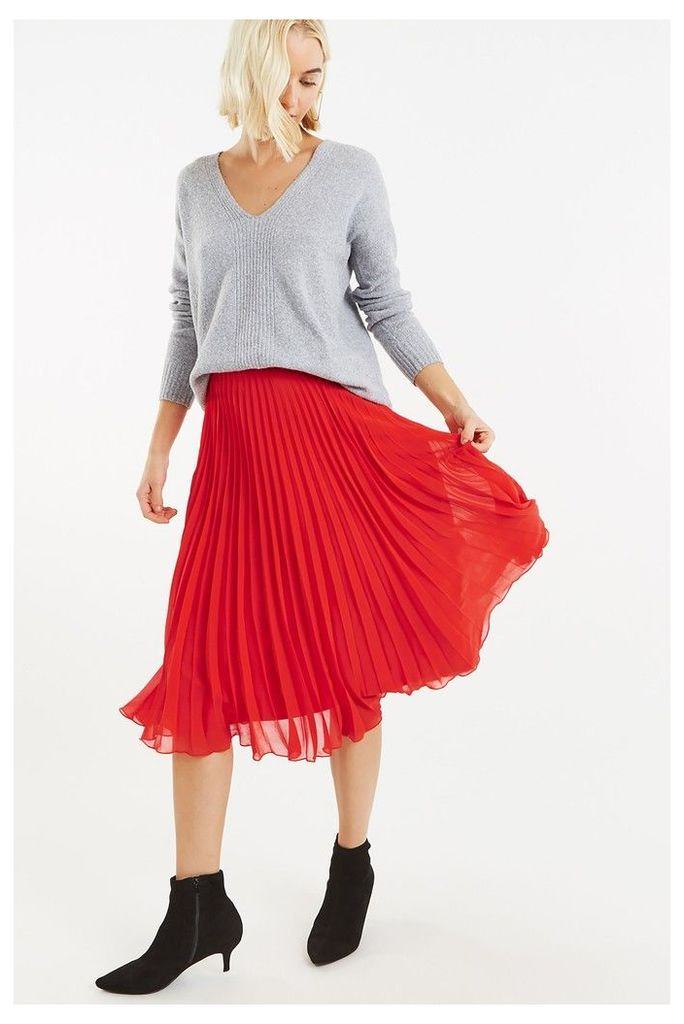 Womens Oasis Coral Pleated Skirt -  Red