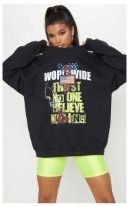 Black Worldwide Slogan Printed Sweater, Black