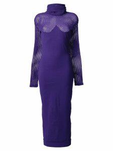 Romeo Gigli Pre-Owned 1990's roll neck midi dress - Purple