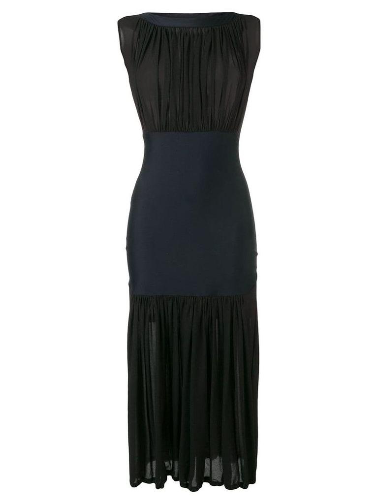 Issey Miyake Vintage 2000's semi-sheer gathered dress - Black