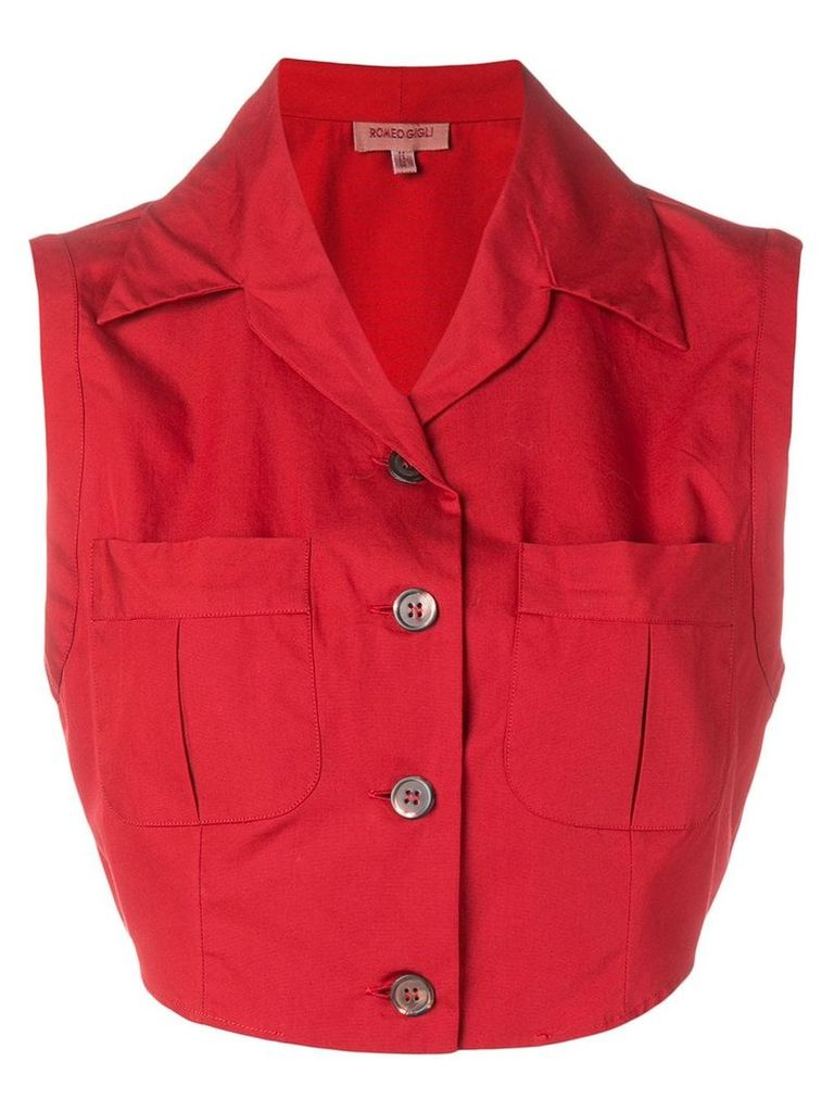 Romeo Gigli Vintage 1990's cropped blouse - Red