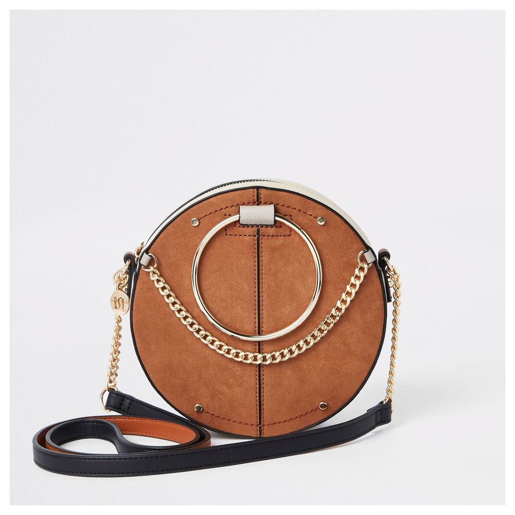 Womens Beige ring handle circle cross body bag