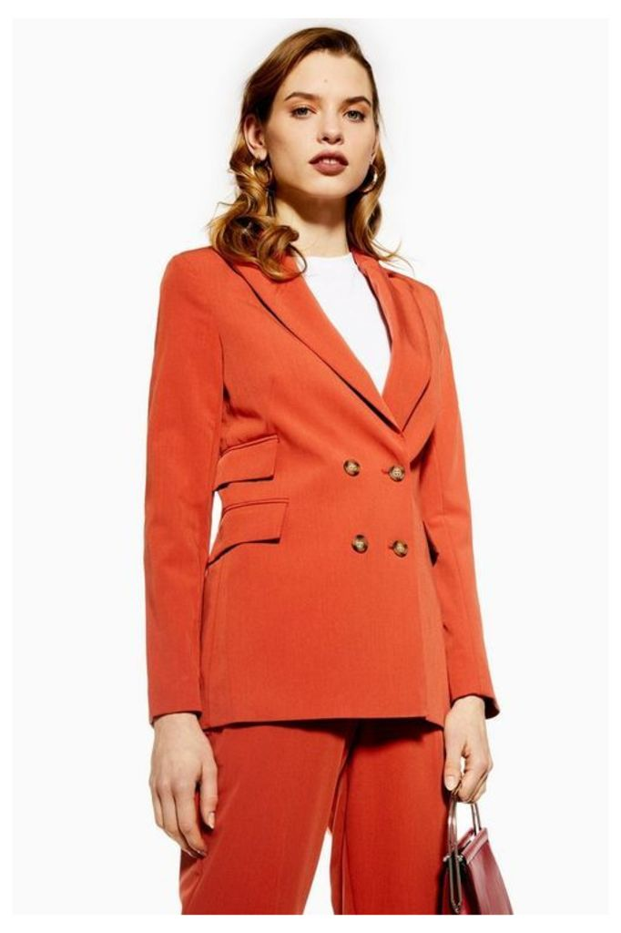 Womens Double Breasted Suit Jacket - Rust, Rust