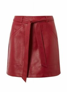 Womens **Vero Moda Red Tie Nw Faux Leather Skirt- Red, Red
