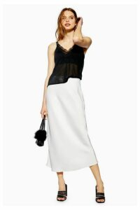 Womens Satin Bias Midi Skirt - Ivory, Ivory