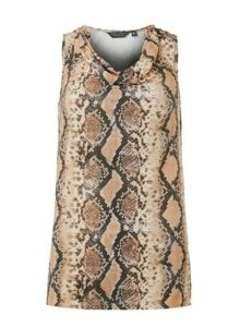 Womens Neutral Snake Print Tunic Top- Multi, Multi
