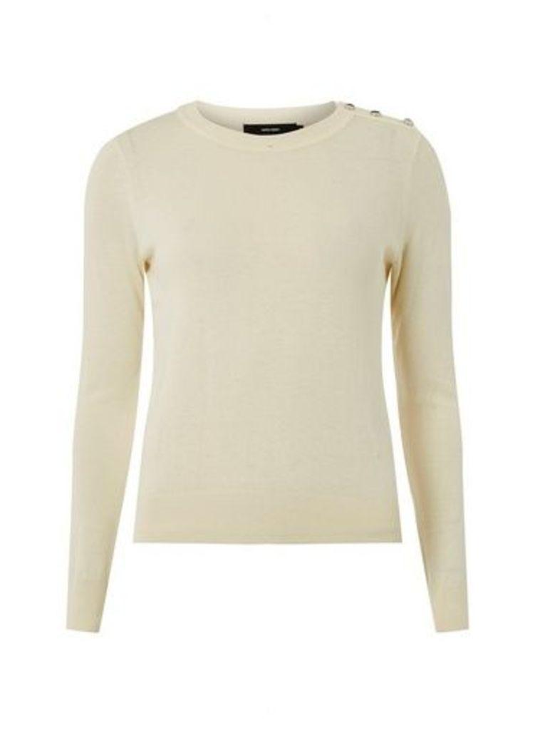Womens **Vero Moda Cream 'Milda' O-Neck Button T-Shirt- White, White
