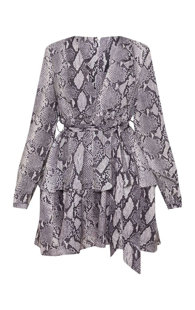 Grey Snake Print Chiffon Double Tier Plunge Skater Dress, Grey