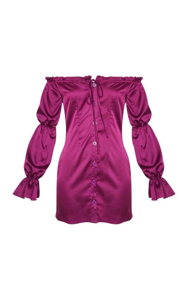 Purple Satin Bardot Button Detail  Bodycon Dress, Purple