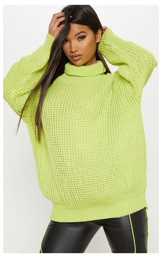 Lime Oversized High Neck Knitted Jumper, Green