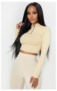 Shape Stone Zip Neck Long Sleeve Crop Top, White