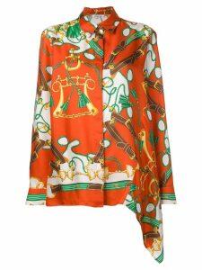 P.A.R.O.S.H. chain print long-sleeve blouse - Orange