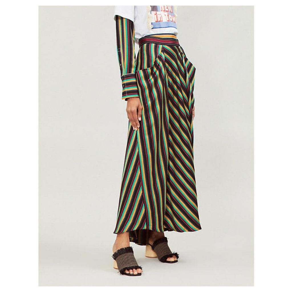 Asymmetric striped high-rise satin skirt