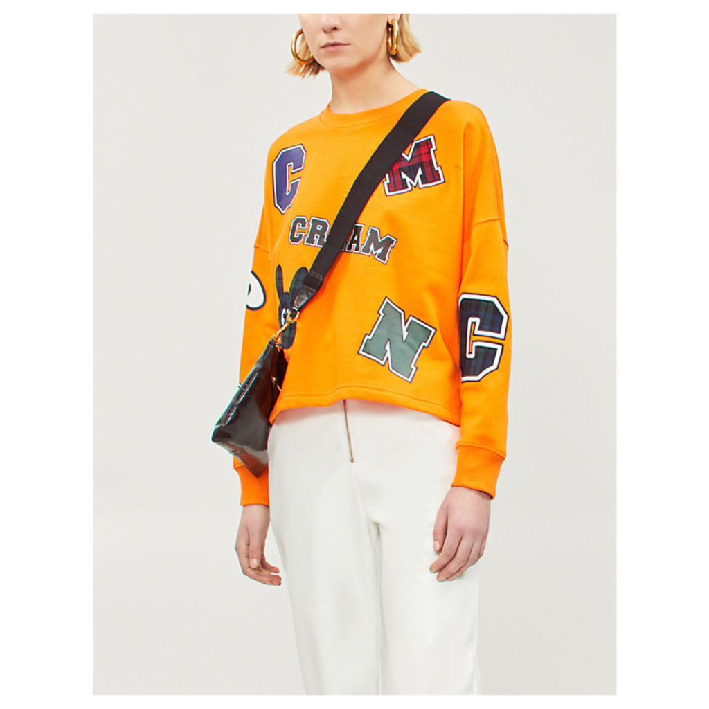 Logo-patch appliqué cotton-blend jersey sweatshirt