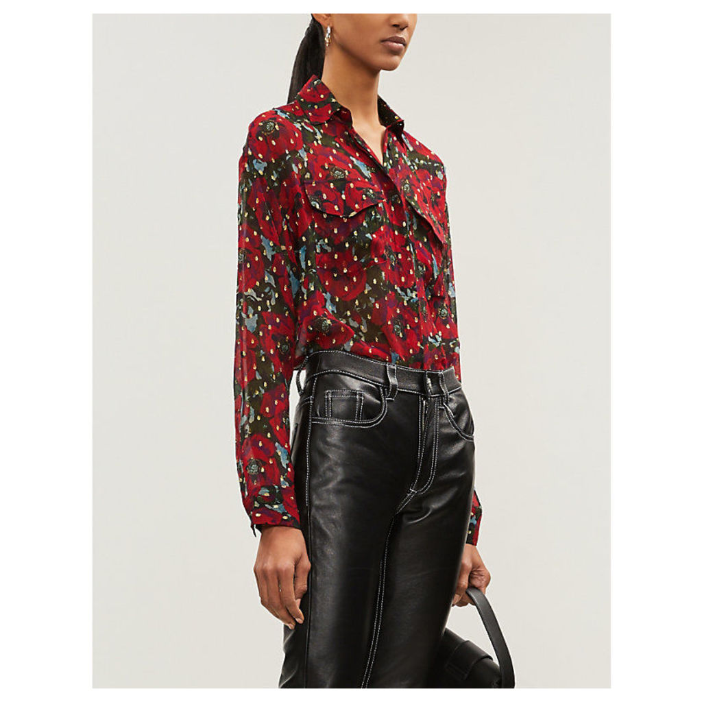 Metallic floral-print silk-georgette shirt