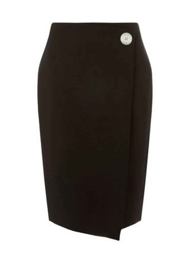 Womens Black Contrast Button Wrap Skirt- Black, Black
