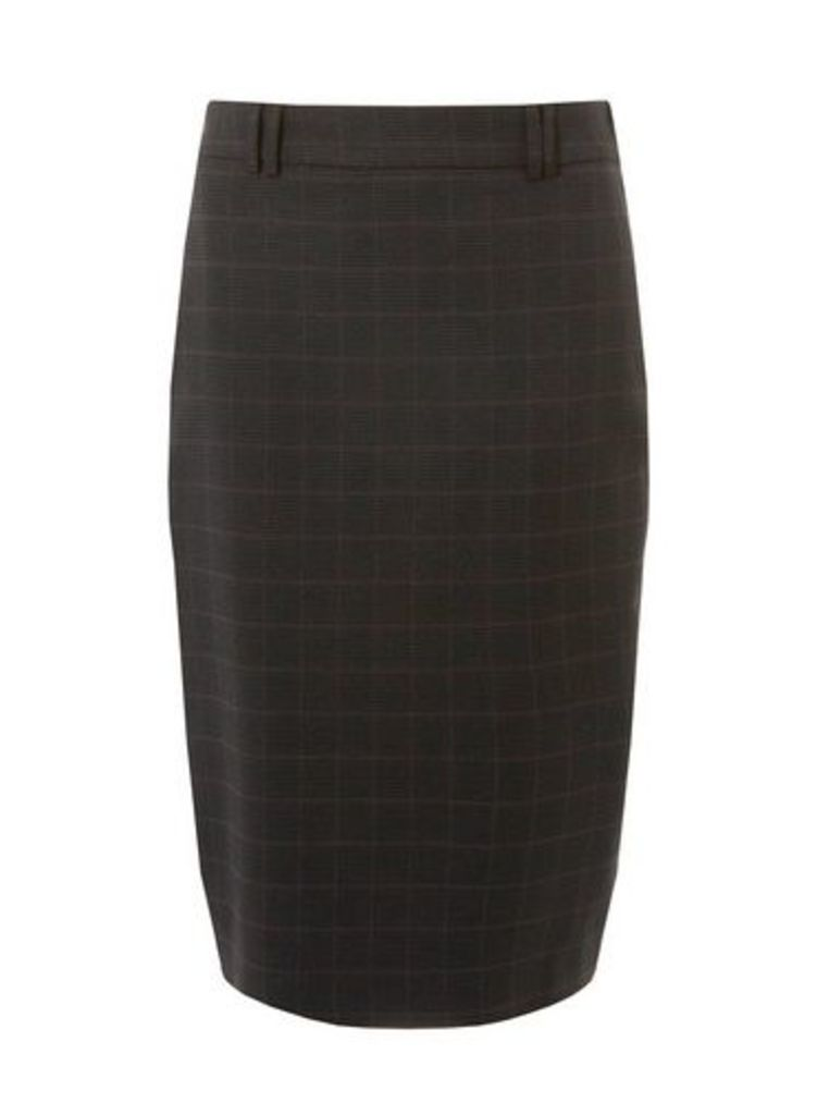 Womens Grey Check Print Pencil Skirt- Grey, Grey