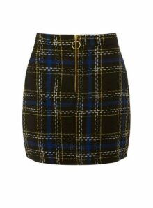 Womens **Woven Check Print Skirt- Black, Black