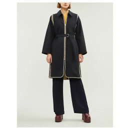 Checked-trim cotton coat