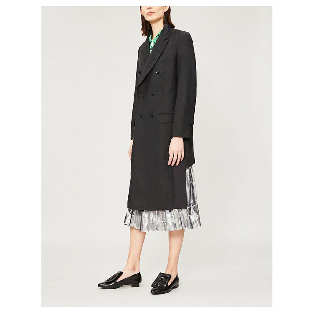 PVC-panel wool-blend coat