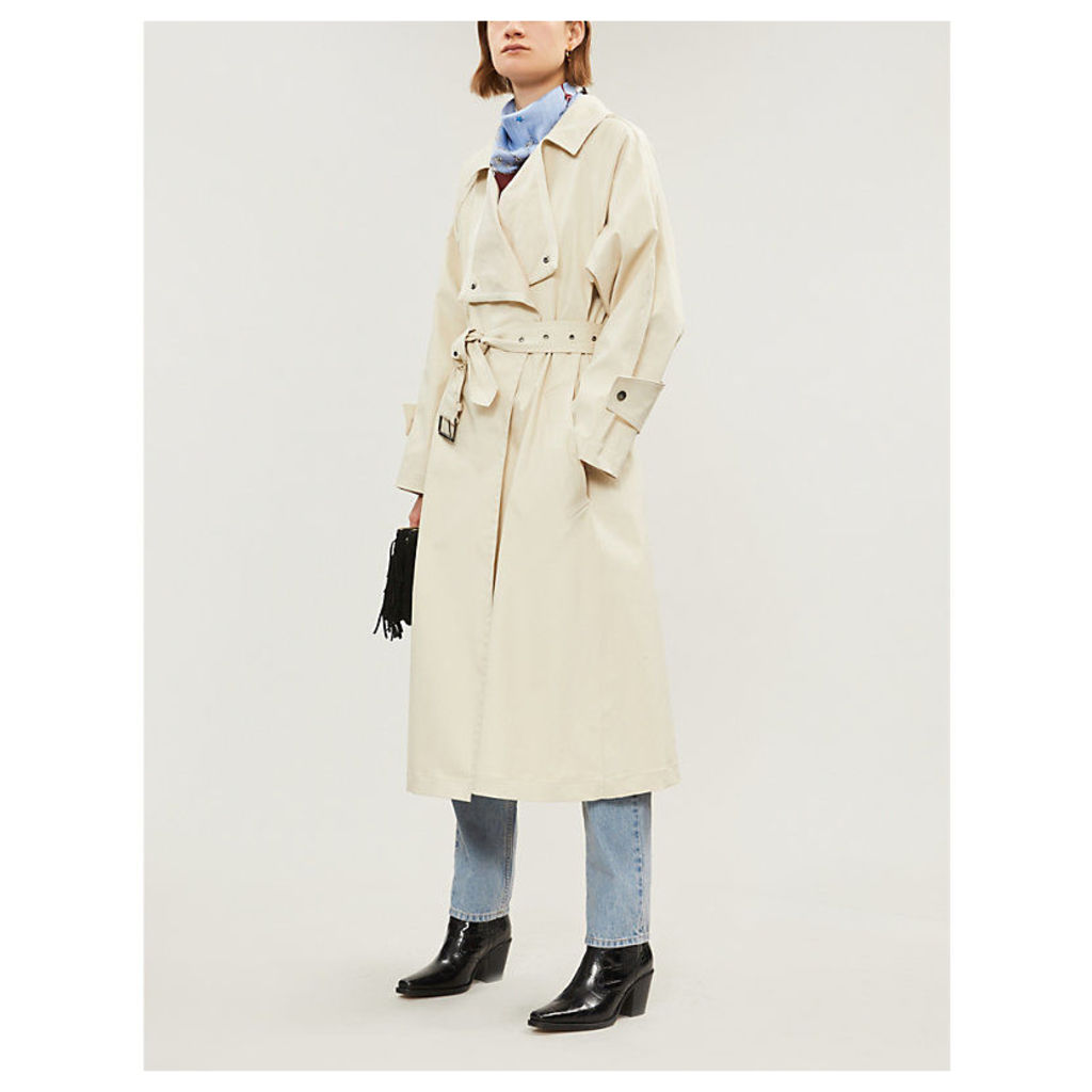 Longline stretch-cotton trench coat