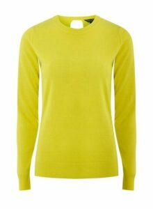 Womens Neon Yellow Wrap Back Jumper- Yellow, Yellow