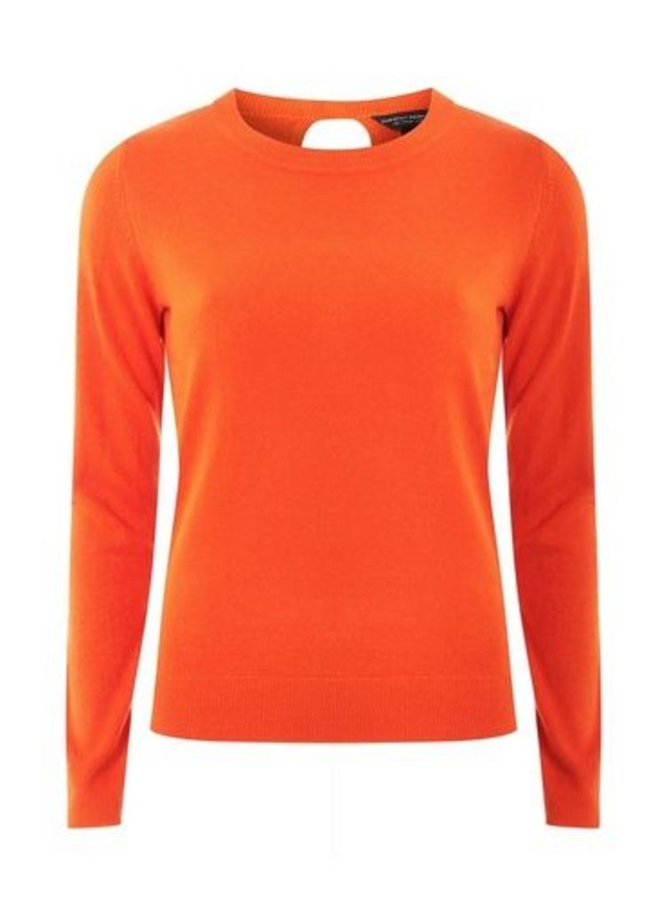 Womens Orange Soft Wrap Back Jumper- Orange, Orange