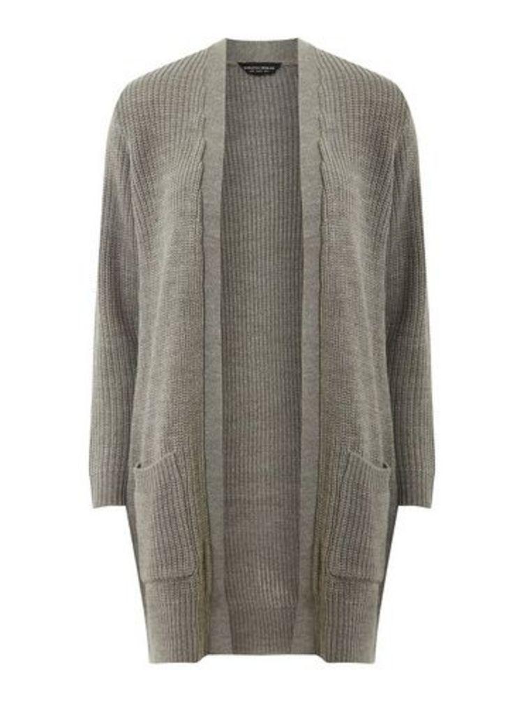 Womens Grey Longline Cardigan- Grey, Grey