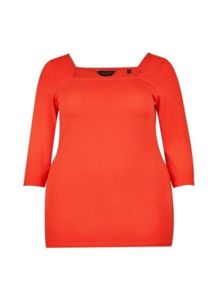 Womens **Dp Curve Red Square Neck Top- Red, Red