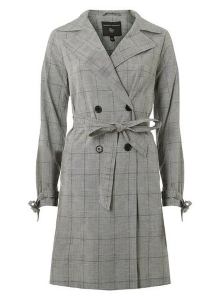 Womens Grey Checked Button Front Mac- Grey, Grey