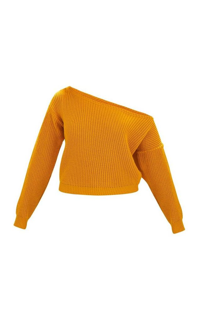 Mustard Off Shoulder Knitted Crop Jumper, Yellow